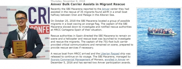 Amver - SBI Macarena Assists in Migrant Rescue